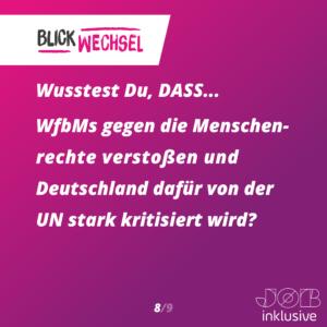 Wusstest du, dass WfbMs gegen die Menschenrechte verstoßen und Deutschland dafür von der UN stark kritisiert wird?