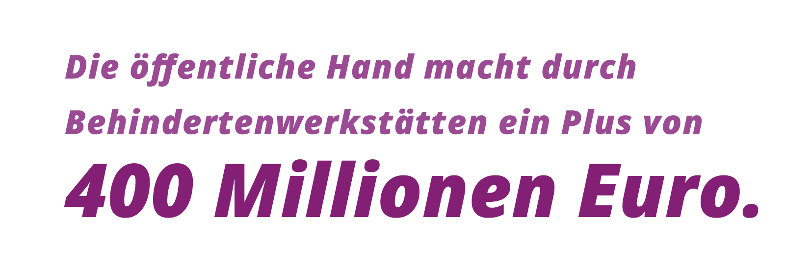 Grafik: Die öffentliche Hand macht durch Behindertenwerkstätten ein Plus von 400 Millionen Euro.